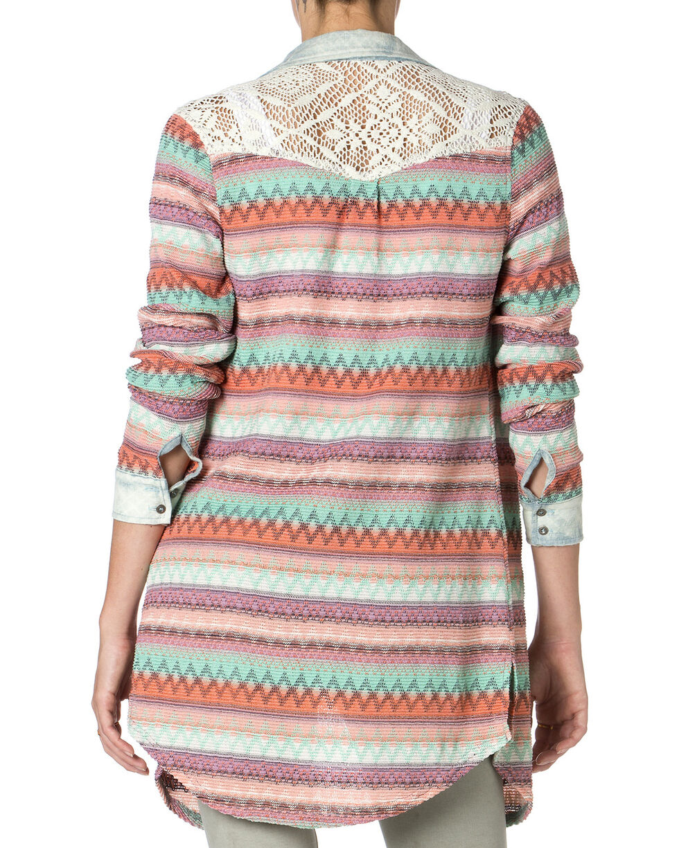 Miss Me Striped Lace Back Long Sleeve Tunic, Coral, hi-res