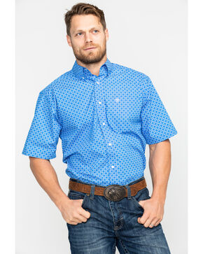 Ariat Men's Egon Geo Print Short Sleeve Western Shirt - Big & Tall , Blue, hi-res
