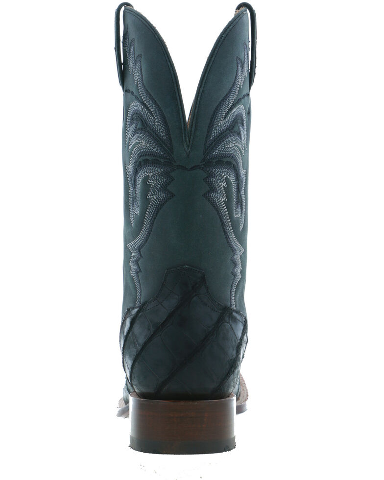 El Dorado Men's Black Caiman Leather Western Boots - Wide Square Toe, Black, hi-res