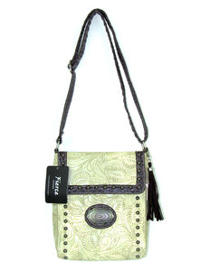 Savana Women's Fierce Tooled Professional Carry Crossbody Purse *DISCONTINUED*, Ivory, hi-res