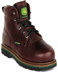 "John Deere Men's Leather 6"" Lace-Up Work Boots - Steel Toe, Brown, hi-res"