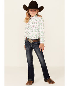 Grace In LA Girls' Dark Wash Embroidered Yoke Regular Bootcut Jeans , Blue, hi-res