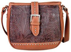 Montana West Trinity Ranch Buckle Design Concealed Handgun Collection Messenger Bag , Brown, hi-res