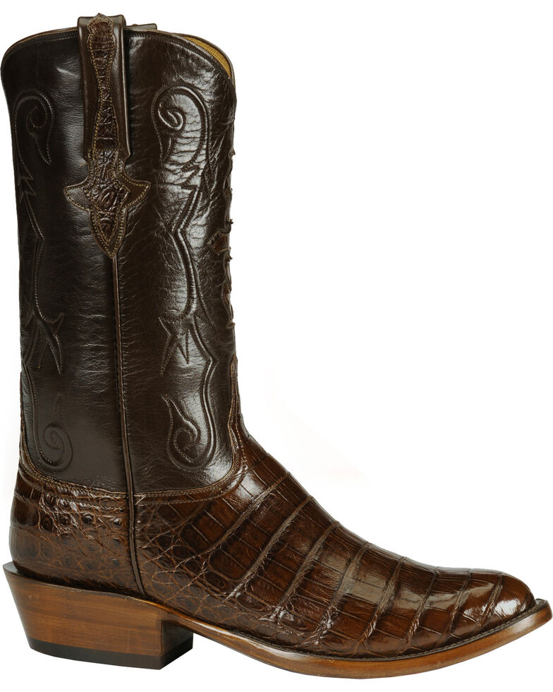 Lucchese Handmade Classics Diego Inlay Ultra Caiman Belly Boots - Medium Toe, Sienna, hi-res