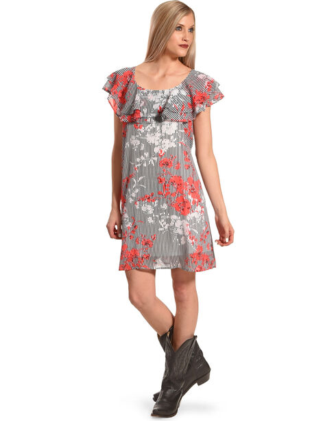 Harlow & Rose Women's Floral Criss Cross Ruffle Dress , Black, hi-res