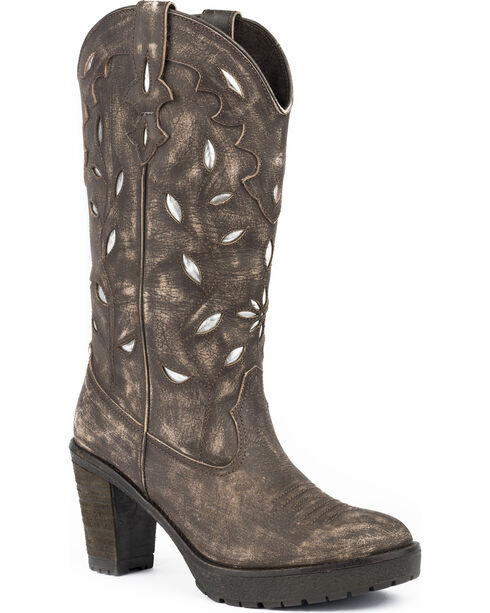 Roper Women's Rocker Silver Underlay Cowgirl Boots - Round Toe, Brown, hi-res