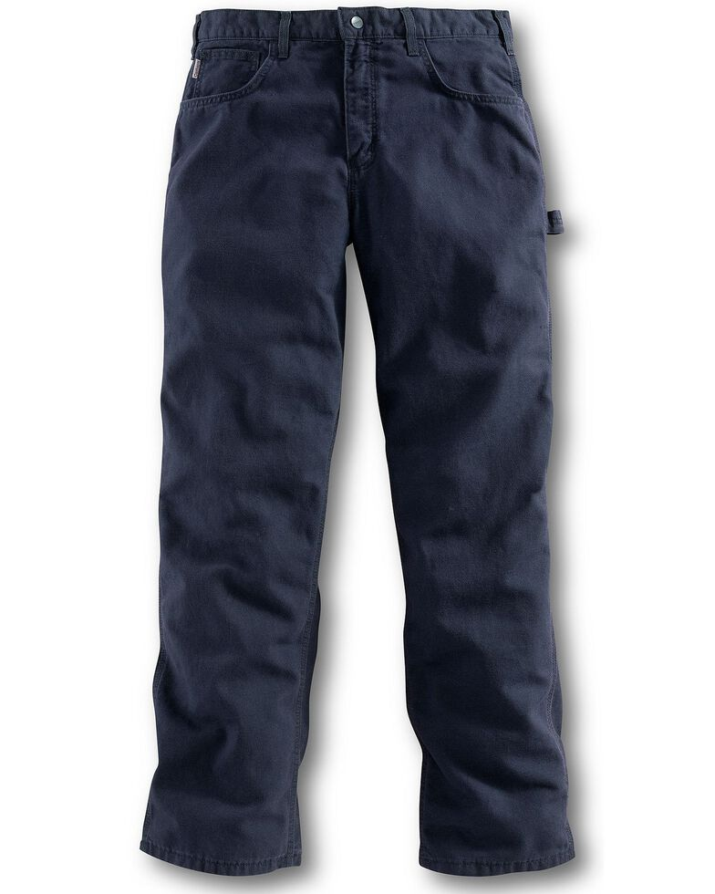 Carhartt Flame Resistant Canvas Work Pants - Big & Tall, Navy, hi-res