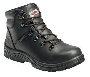 Avenger Men's Black Lace-Up Waterproof Work Boots - Steel Toe, Black, hi-res