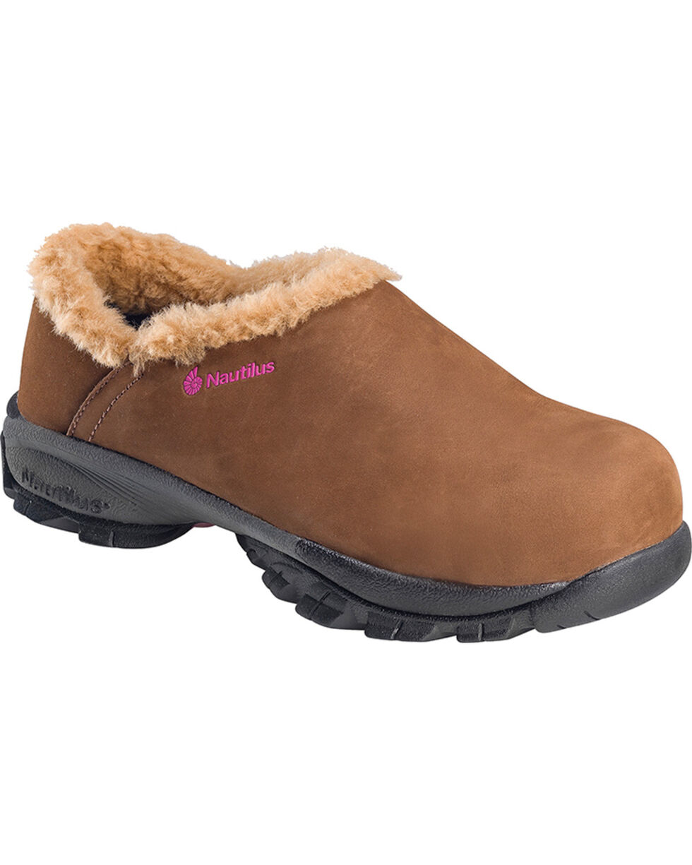 Nautilus Women's ESD Fleece Lined Safety Clogs - Composite Toe, Brown, hi-res
