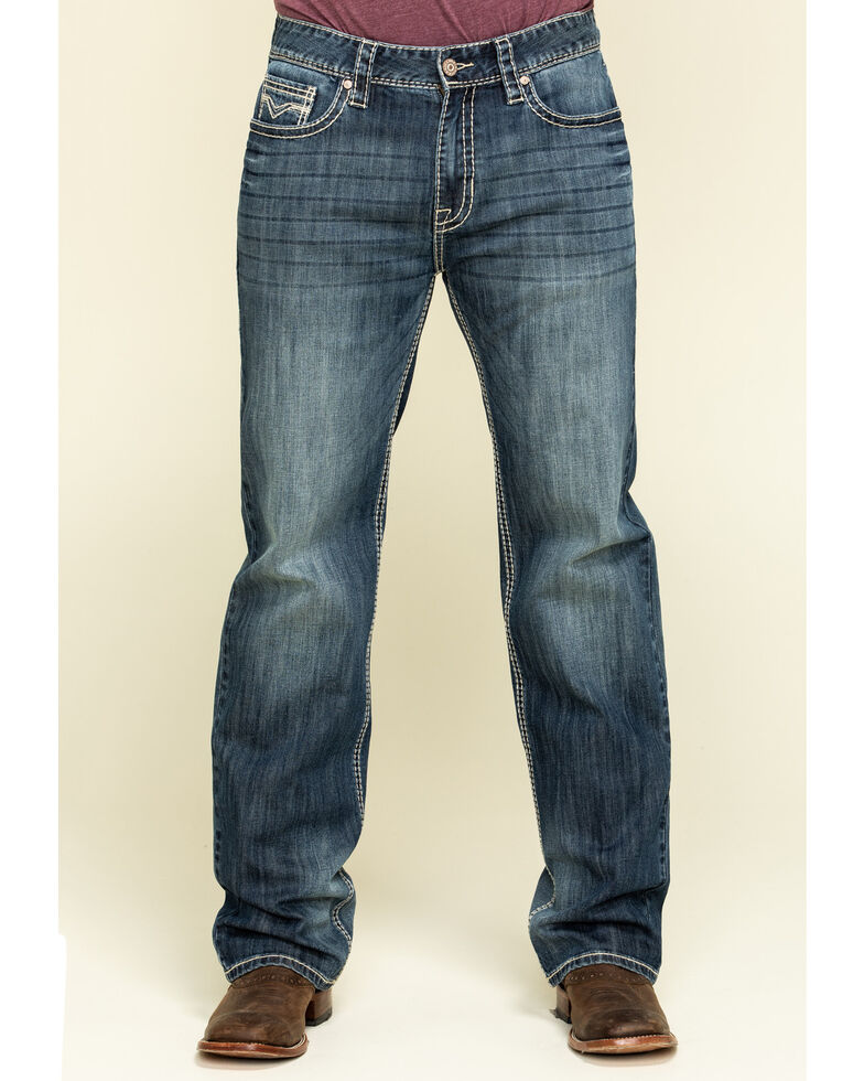 Rock & Roll Denim Men's Double Barrel Stretch Relaxed Straight Jeans , Blue, hi-res