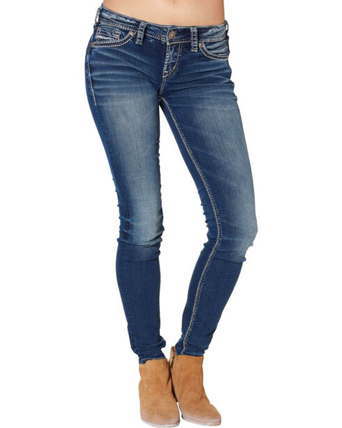 "Silver Women's Aiko Super Skinny Jeans - 31"" Inseam, Blue, hi-res"