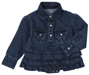 Wrangler Infant Girls' Denim Bodysuit with Ruffle, Denim, hi-res