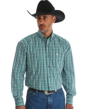 Wrangler Men's Green George Strait Double Pocket Plaid Shirt - Big and Tall , Green, hi-res