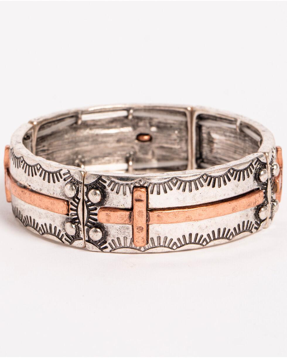 Shyanne Women's Texas Rose Cross Stretch Bracelet, Silver, hi-res