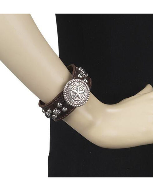 American West Women's Chestnut Star Concho Narrow Cuff Bracelet , Chestnut, hi-res