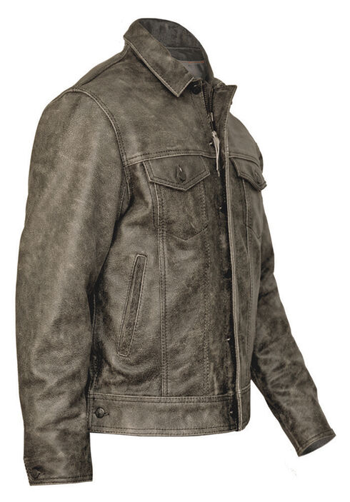 STS Ranchwear Men's Maverick Rustic Black Leather Jacket - 2XL & 3XL, Black, hi-res