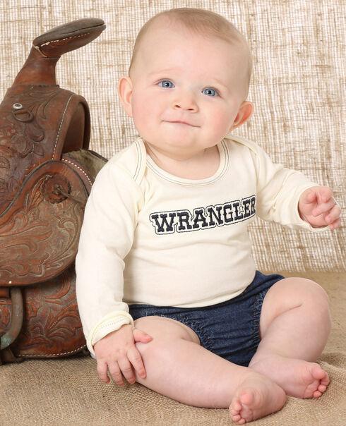 Wrangler Infant Natural Embroidered Logo Long Sleeve Bodysuit , Natural, hi-res