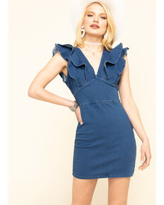 Flying Tomato Women's Blue Denim Ruffle Sleeve Dress, Blue, hi-res