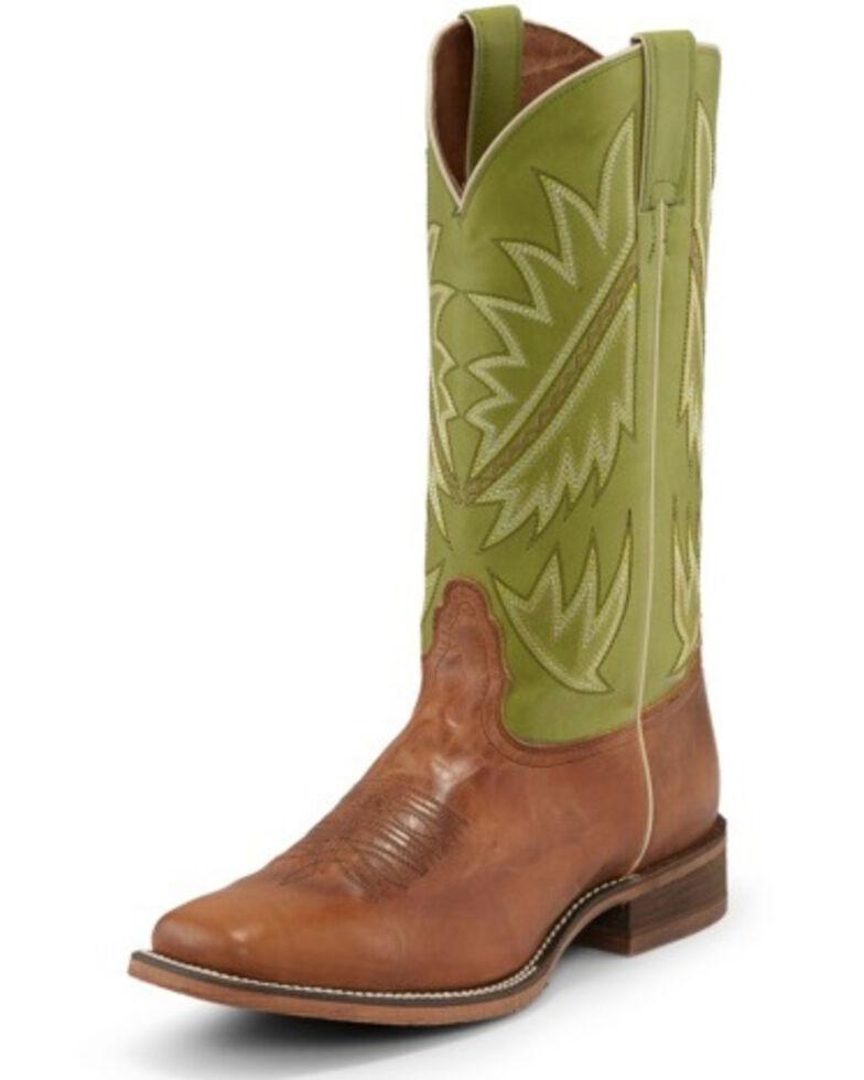 Nocona Men's Go Round Green Western Boots - Square Toe, Tan, hi-res