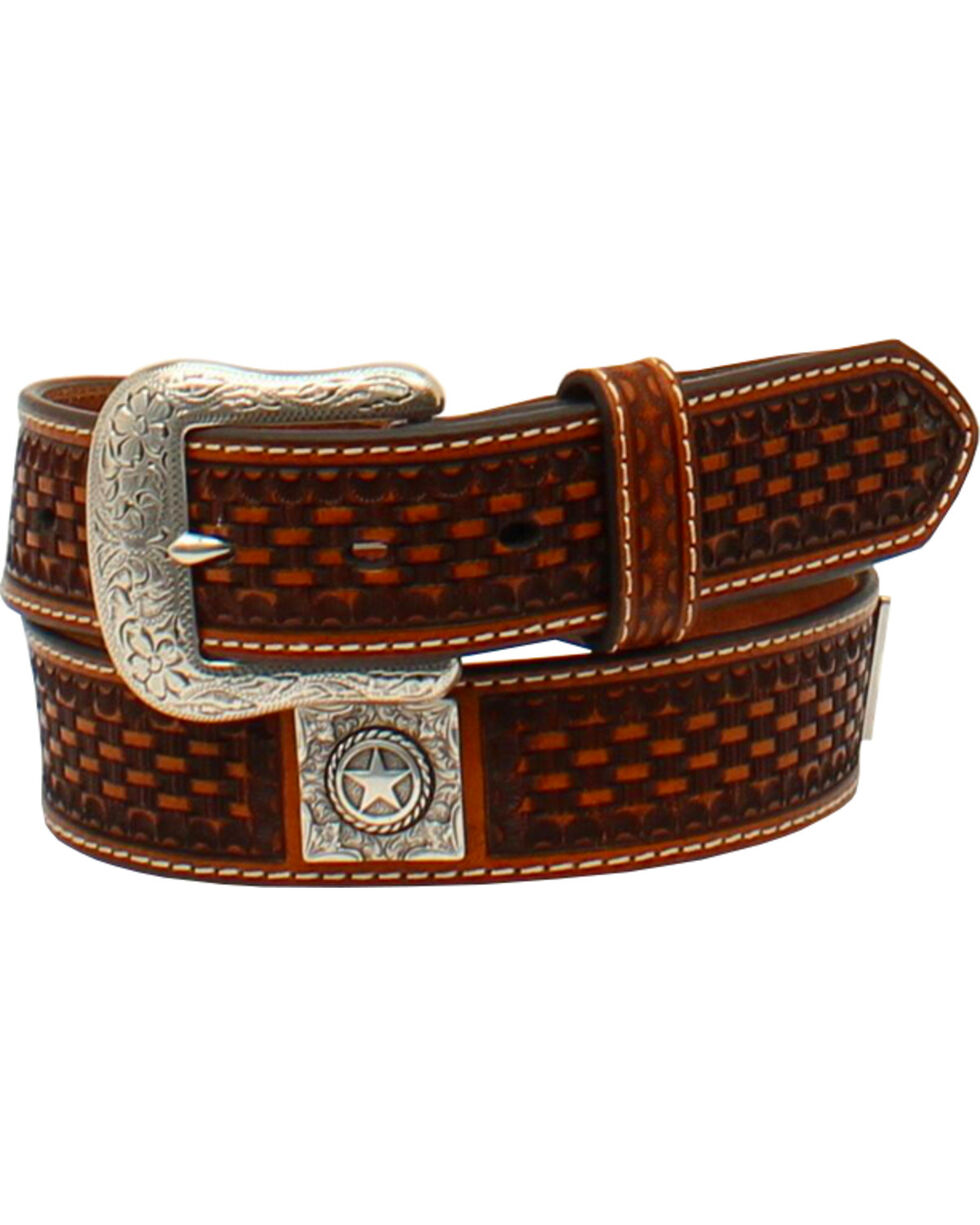 Ariat Men's Basketweave Embossed Leather Belt , Tan, hi-res