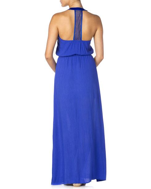 Miss Me Women's Embroidered Halter Maxi Dress, Blue, hi-res