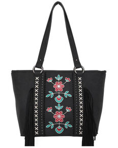 Montana West Women's Embroidered Fringe Conceal Tote Handbag, Black, hi-res