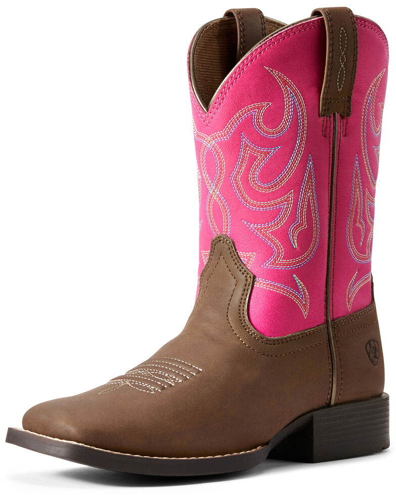 Ariat Youth Girls' Sport Champ Western Boots - Wide Square Toe, Brown, hi-res