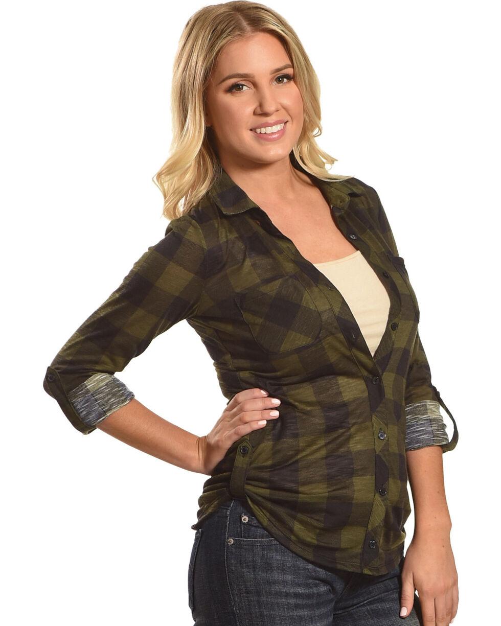 Derek Heart Women's Two Pocket Plaid Button Down Shirt, Olive, hi-res