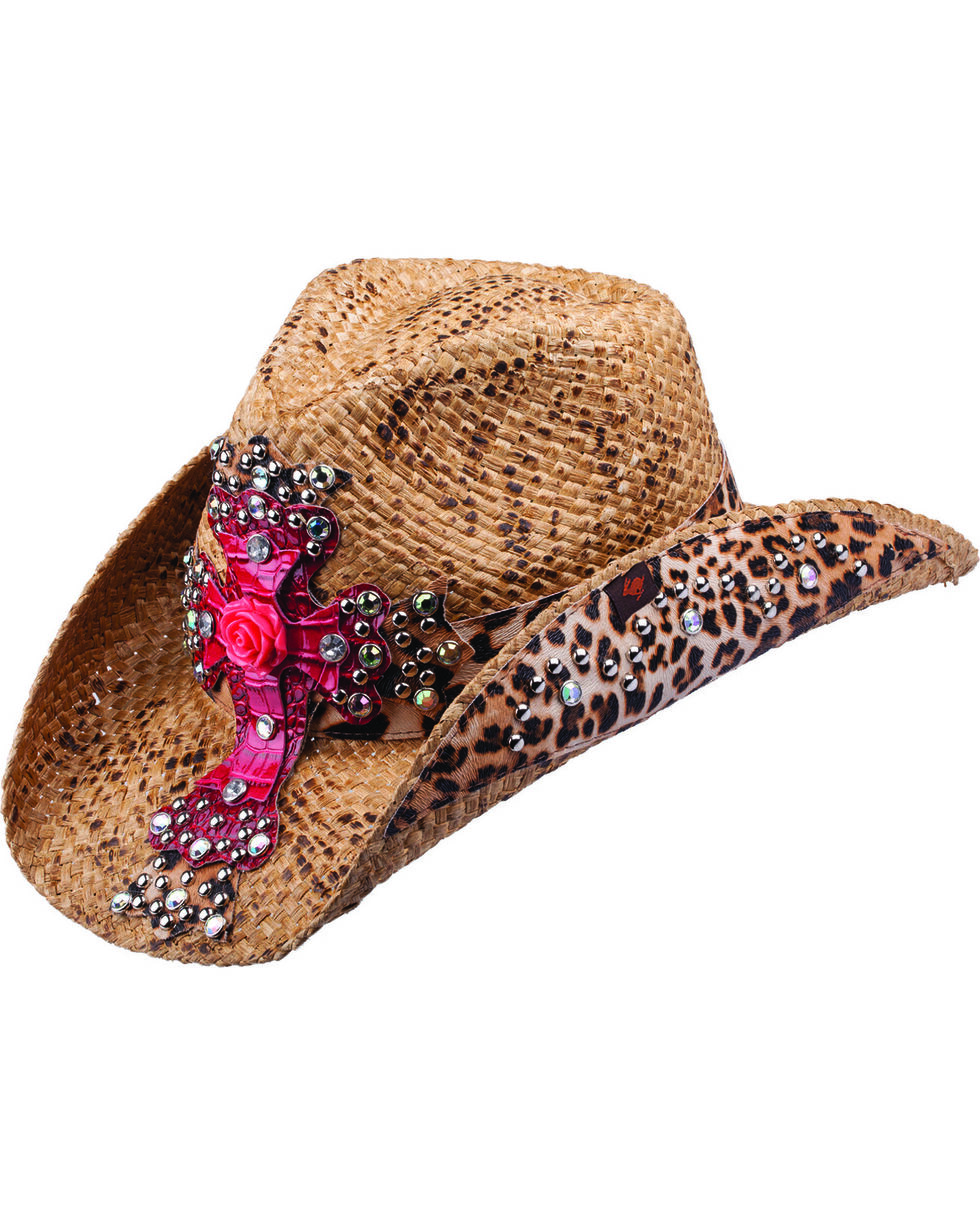 Peter Grimm Eris Leopard Print and Pink Embellished Cross Straw Cowgirl Hat, Brown, hi-res