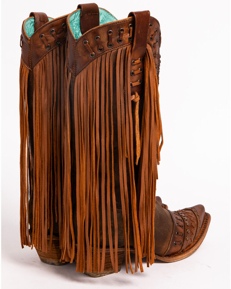 Corral Women's Studded Fringe Cowgirl Boots - Snip Toe, Brown, hi-res
