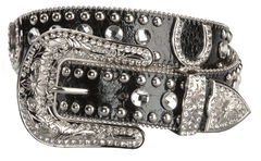 Blazin Roxx Black Horseshoe Bling Belt, Black, hi-res