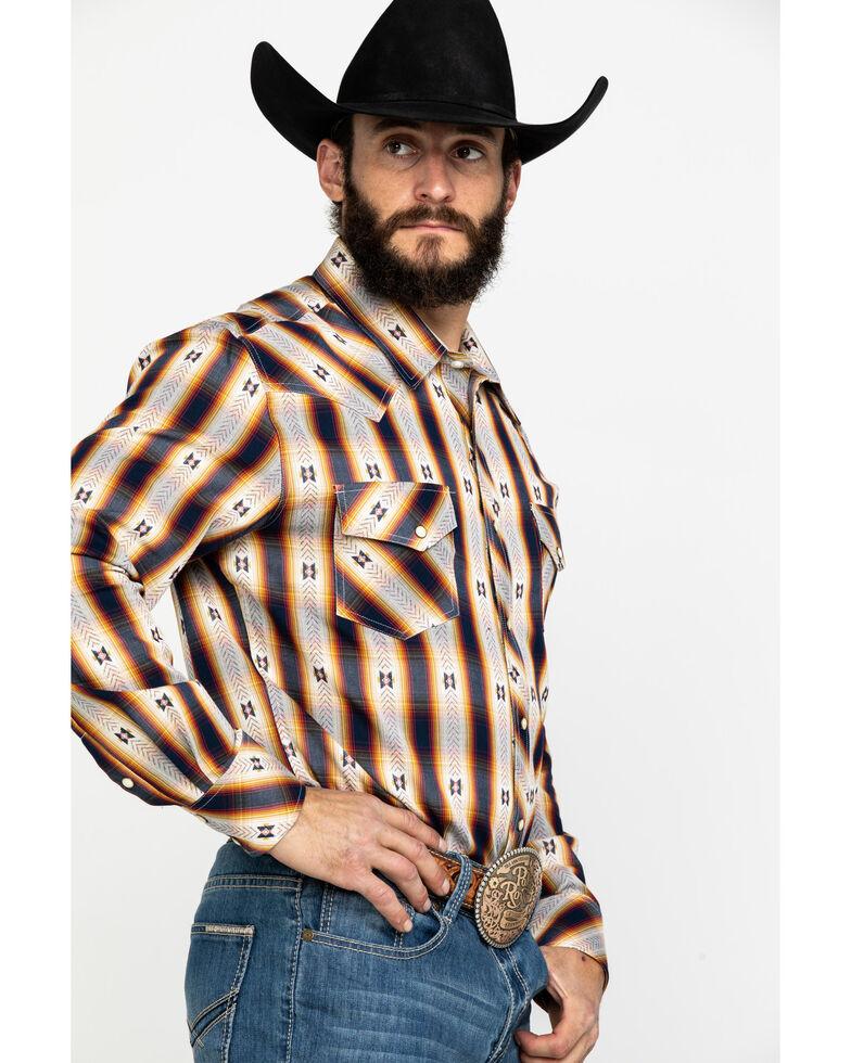 Rock & Roll Denim Men's Aztec Jacquard Plaid Long Sleeve Western Shirt , Red, hi-res