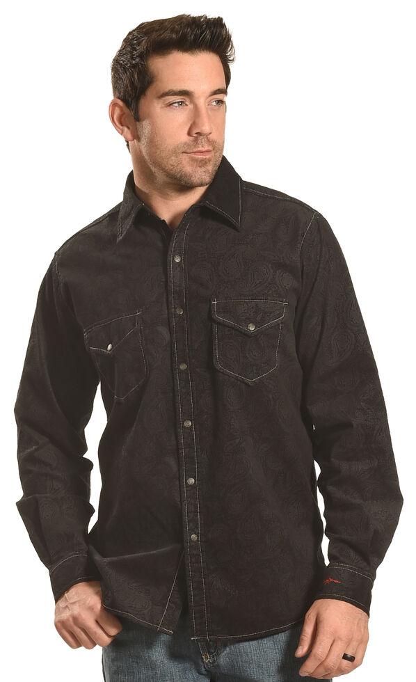 Ryan Michael Men's Black Embossed Paisley Western Shirt, Black, hi-res