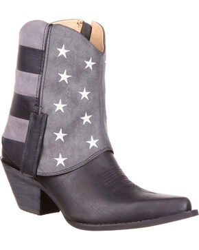 Durango Women's Crush Fold-Down Flag Booties - Snip Toe , Black, hi-res