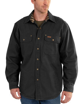 Carhartt Weathered Canvas Shirt Jacket - Big & Tall, Black, hi-res