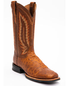 Ariat Men's Tan Platinum Full Quill Ostrich Boots - Square Toe , Tan, hi-res