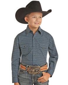 Panhandle Select Boys' Blue Abstract Poplin Print Long Sleeve Western Shirt , Blue, hi-res