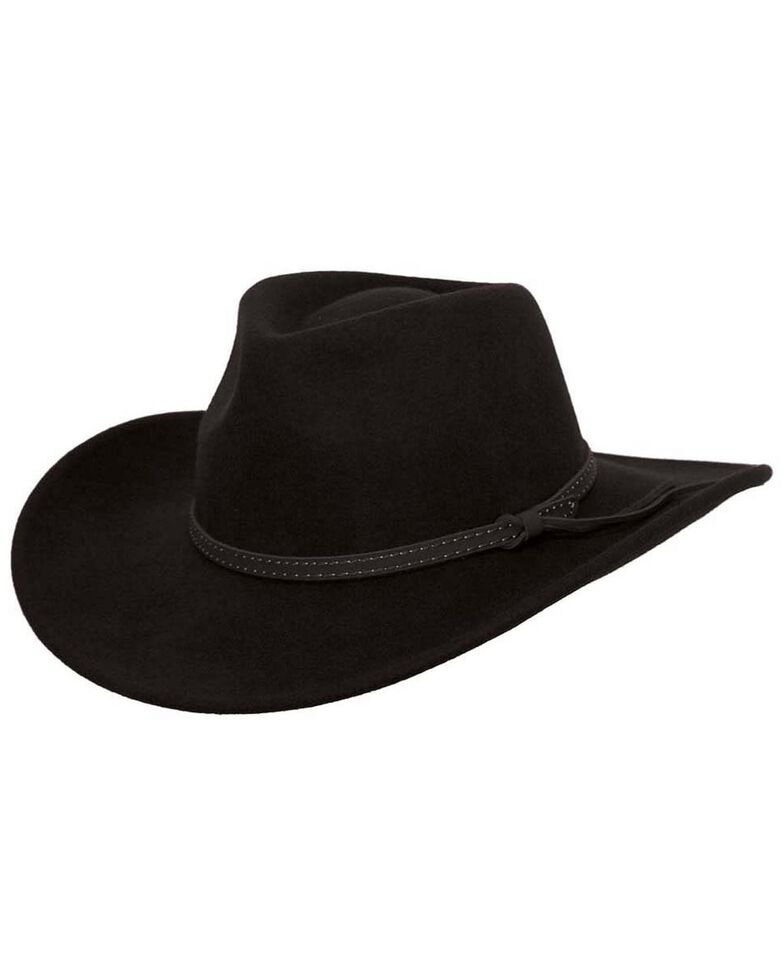 Outback Trading Co. Cooper River Crushable Australian Wool Hat, Black, hi-res