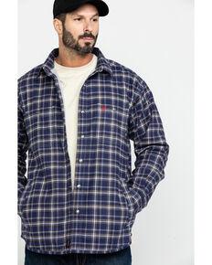 Ariat Men's FR Monument Plaid Work Shirt Jacket - Tall , Navy, hi-res