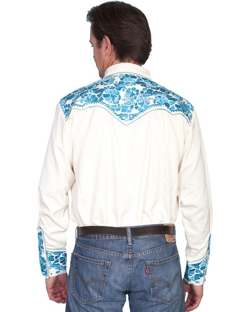 Scully Floral Embroidered Western Shirt, Cream, hi-res