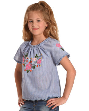 Idol Mind Girls Striped Embroidered Peasant Top, Blue, hi-res