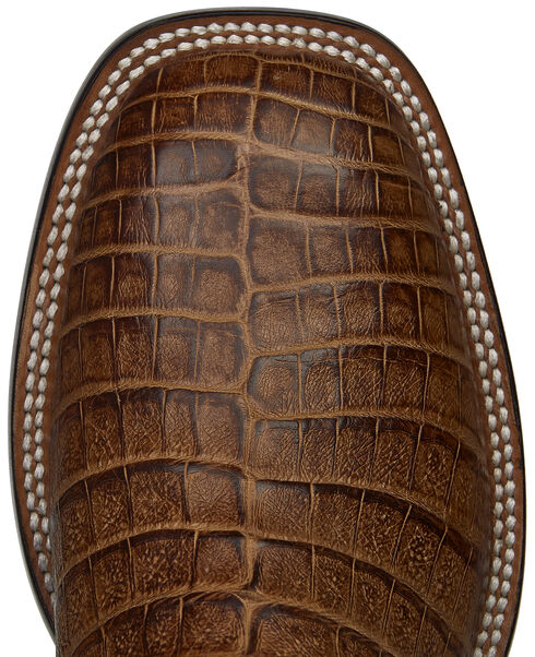 Lucchese Tan Sean Belly Caiman Cowboy Boots - Square Toe , Tan, hi-res