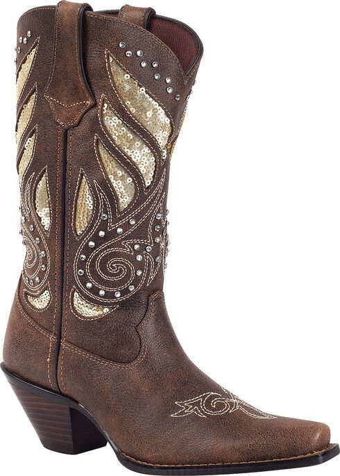 Durango Crush Sequin Inlay & Studded Cowgirl Boots - Snip Toe, Brown, hi-res