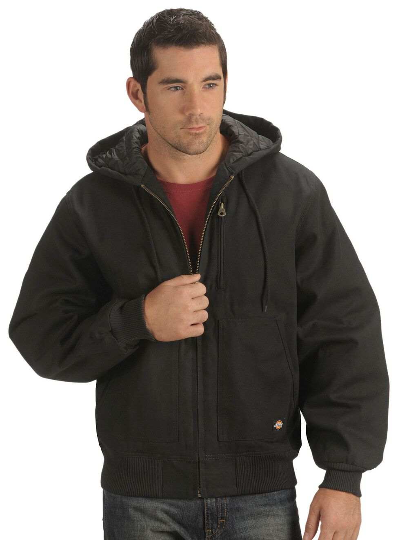 Dickies Rigid Duck Hooded Jacket - Big & Tall, Black, hi-res