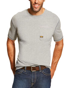 Ariat Men's Grey Rebar Crew Short Sleeve Pocket Tee - Tall, Heather Grey, hi-res