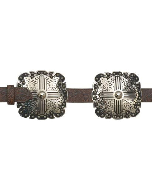 Angel Ranch Women's Brown Cross Concho Belt , Brown, hi-res