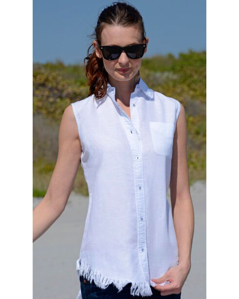 Dizzie Lizzie Women's Sleeveless Button-Down Tunic , White, hi-res
