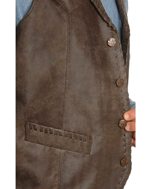 Scully Whipstitch Lamb Leather Vest, Brown, hi-res