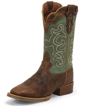 Justin Women's Waxy Coffee Western Boots - Square Toe, Green, hi-res