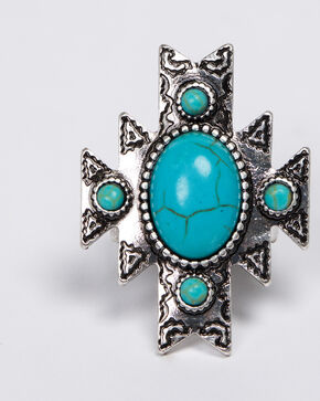 Shyanne Women's Emma Rae Aztec Turquoise Ring - Size 6, Turquoise, hi-res